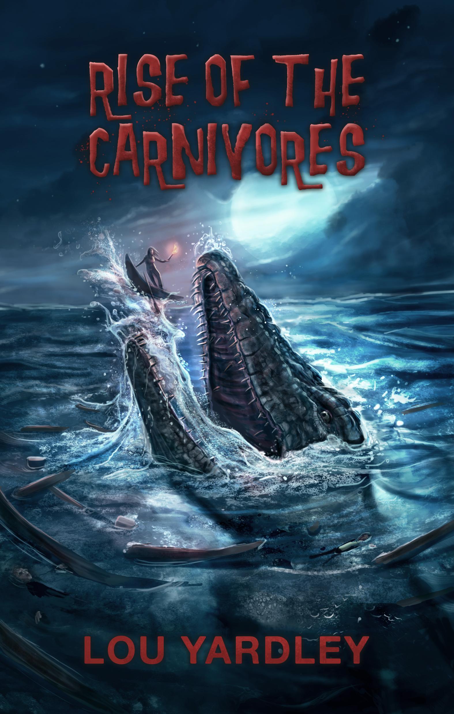 horror book cover, dinosaur mosasaurus