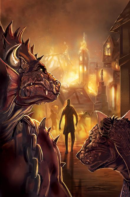 burning town fantasy