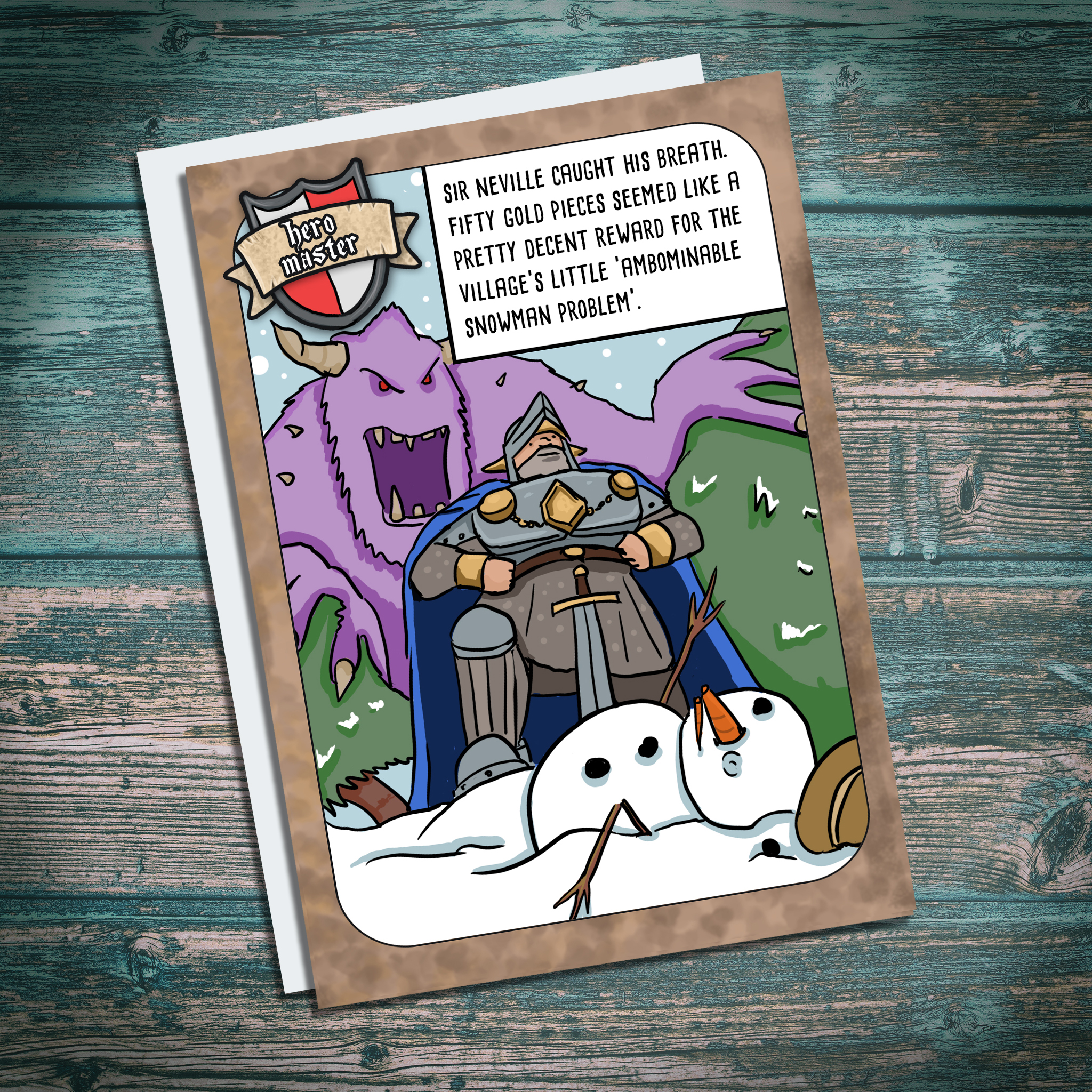 funny christmas card for geeks, RPG fans, fantasy geek christmas card with yeti