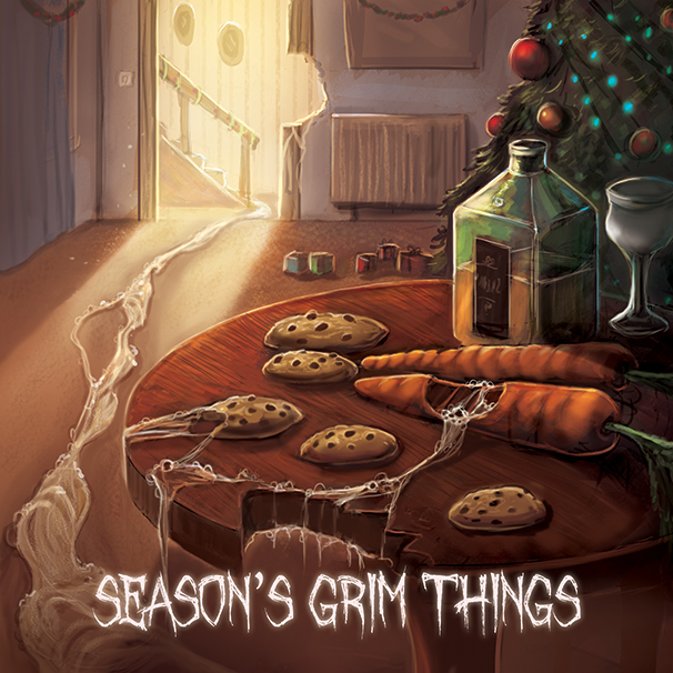 Monster at Christmas, cookies out for santa horror, Christmas horror scene greetings card