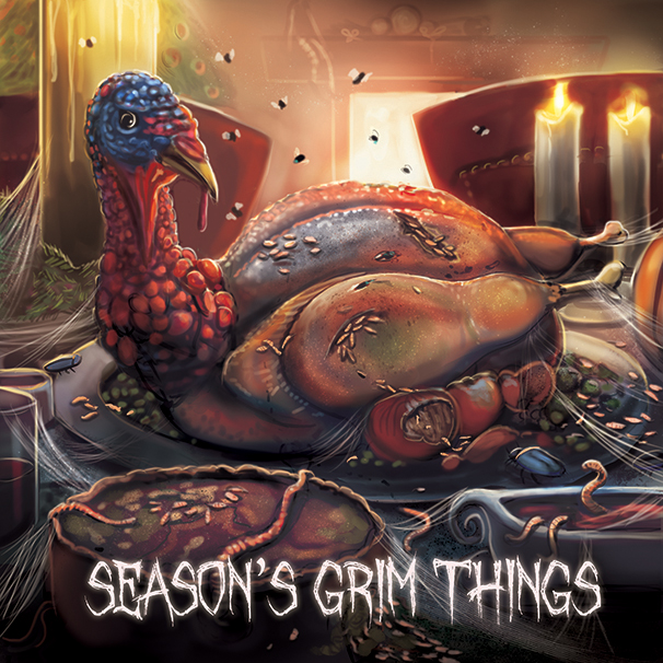 Rotten roast, horror inspired christmas card, alternative greetings card for winter, thanksgiving horror