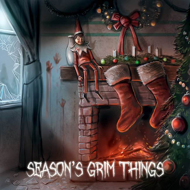 freaky elf on shelf, christmas horror greetings card