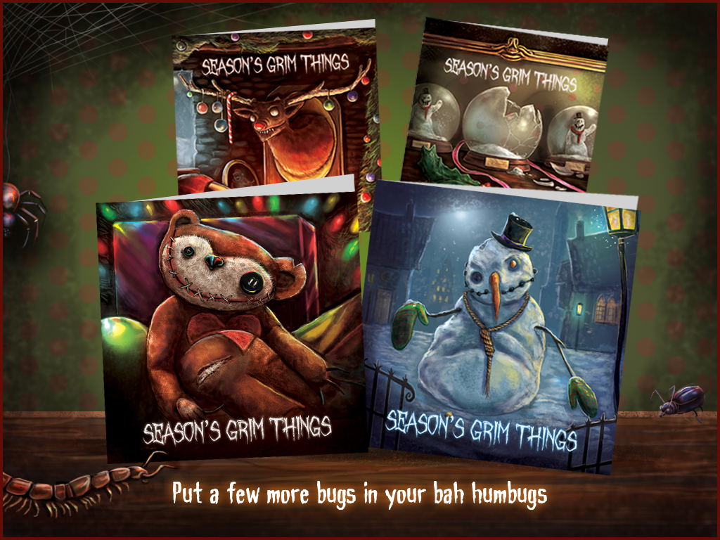 Creepy Christmas cards from Season's Grim Things. Creepy Snowman, horror teddy bear, rabid rudolf's mounted head and a broken snowglobe with escaped snowman