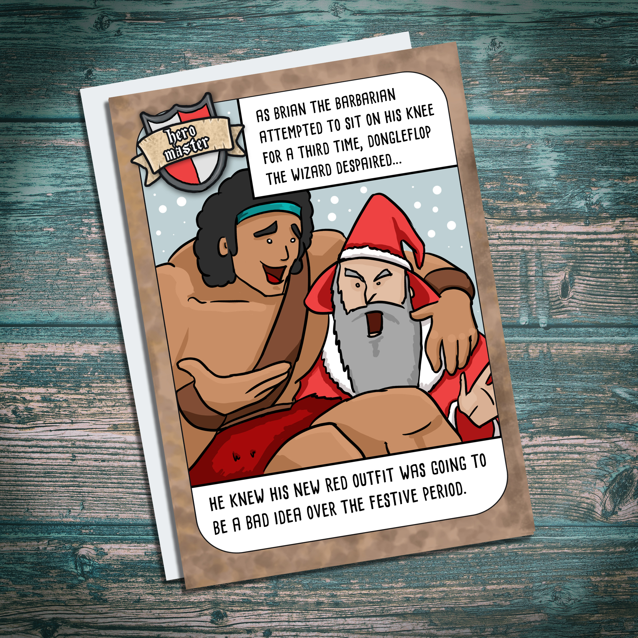Wizard dressed as santa funny fantasy RPG game christmas card
