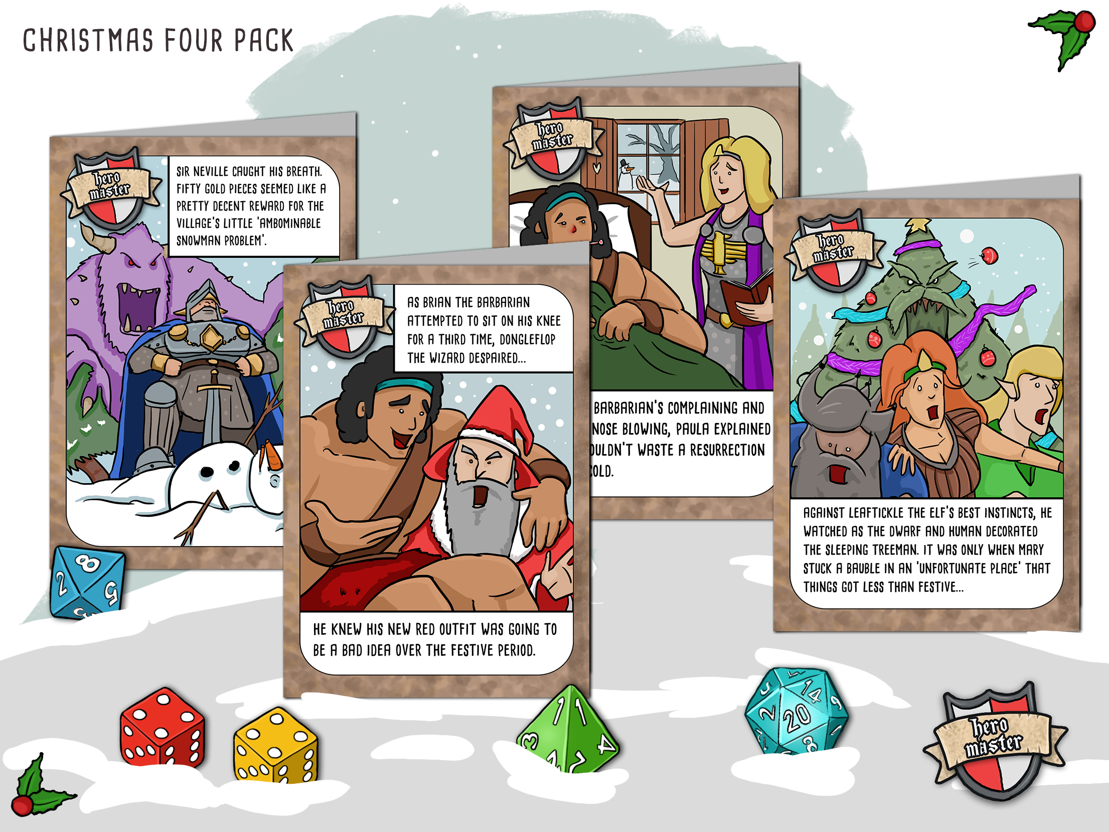 fantasy RPG christmas cards, dungeons and dragons Christmas cards