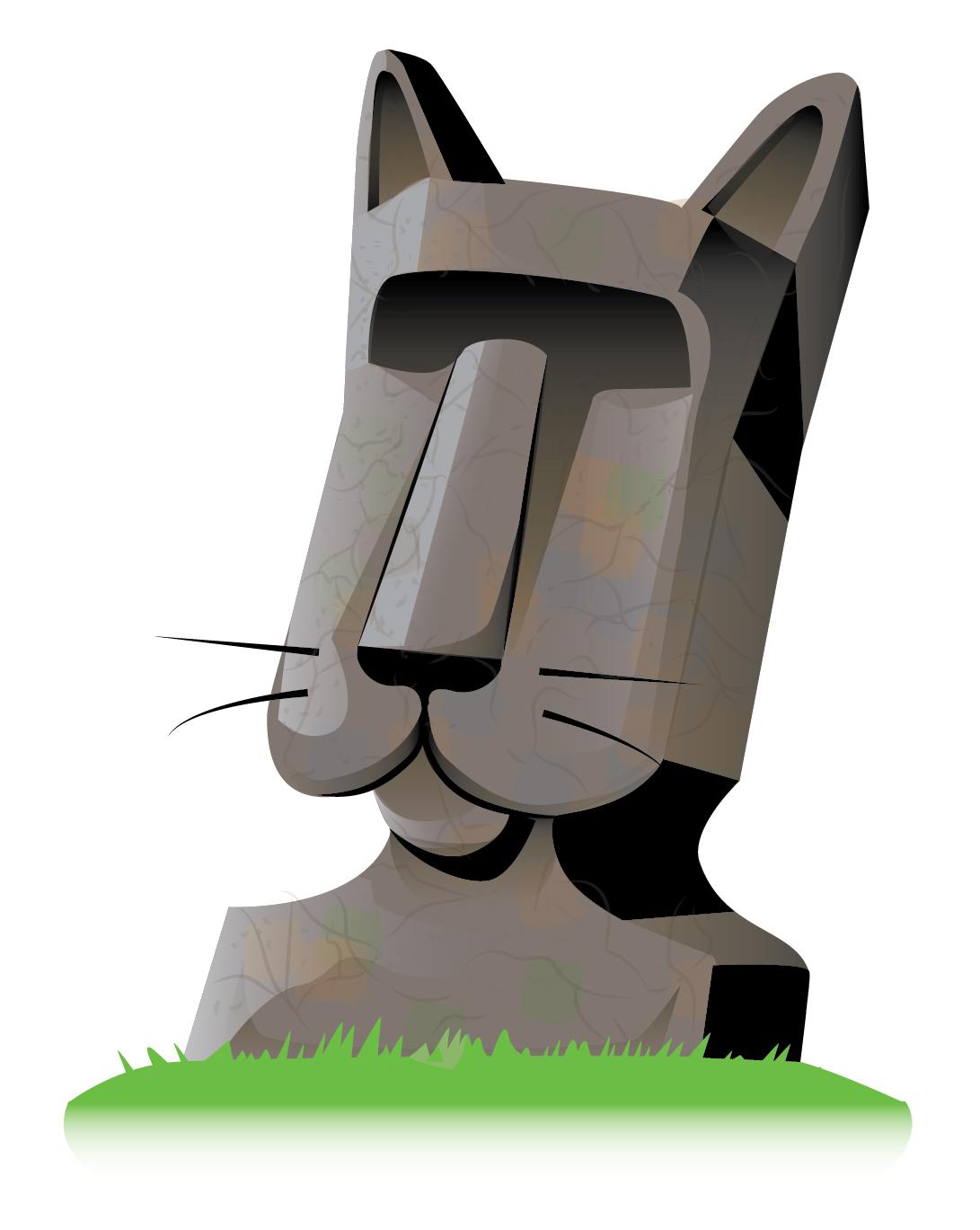 quick logo design for moai head of a cat, easter island