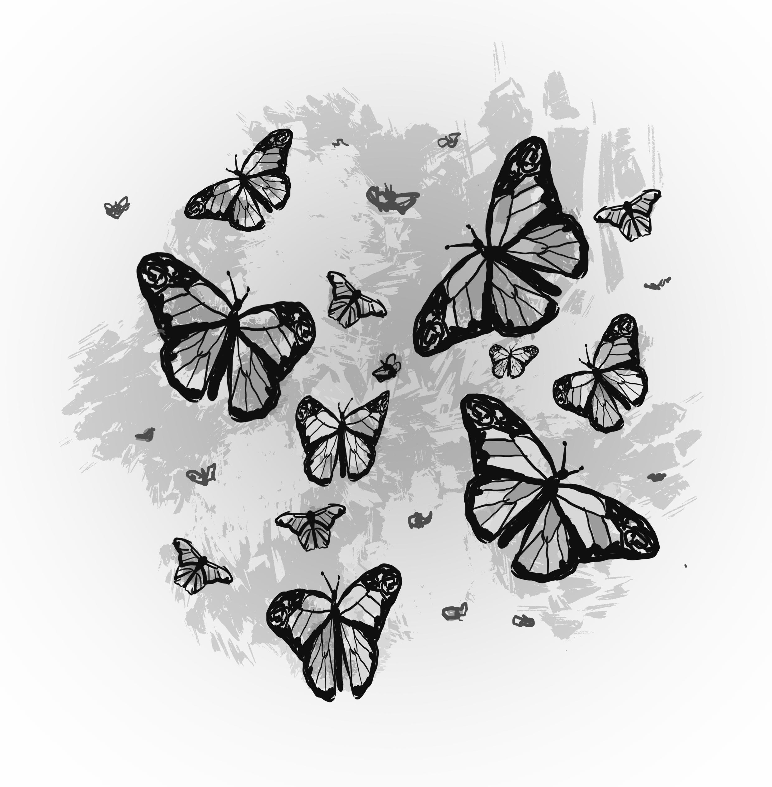 black ink illustration of butterflies