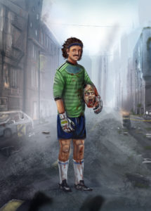 soccer player with zombie head