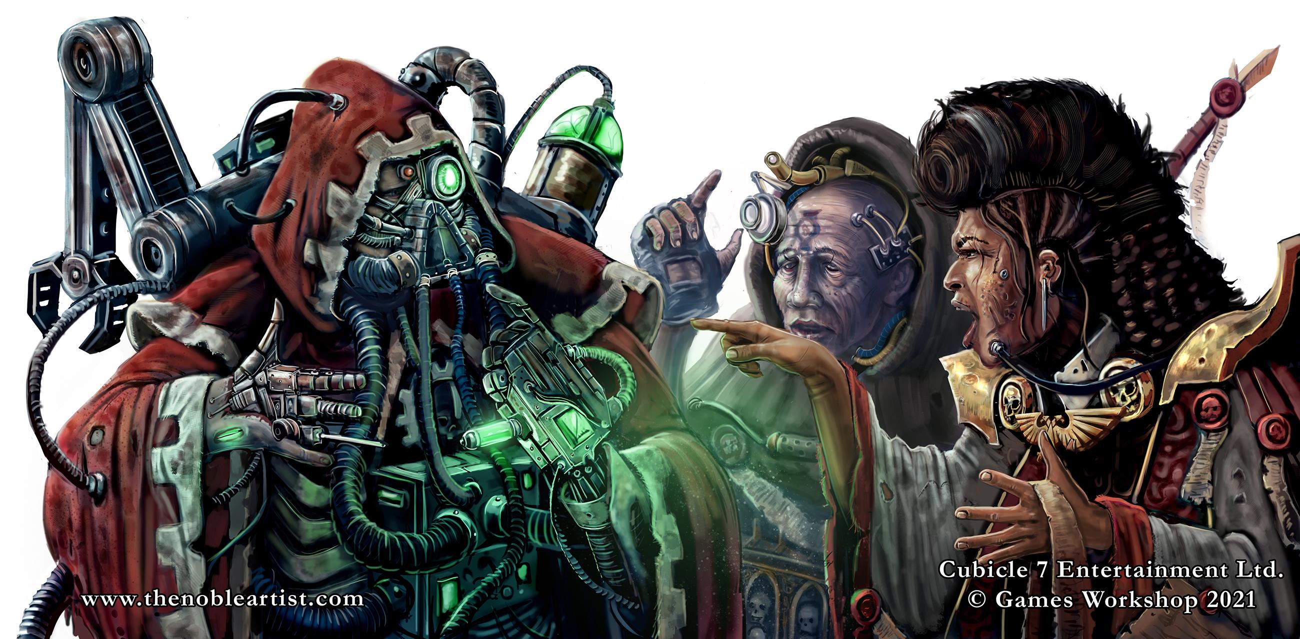 Warhammer 40k art of Adeptus Mechanicus tech priest, Ministorum Priest, Administratum Adept. Official artwork for Cubicle 7 by The Noble Artist