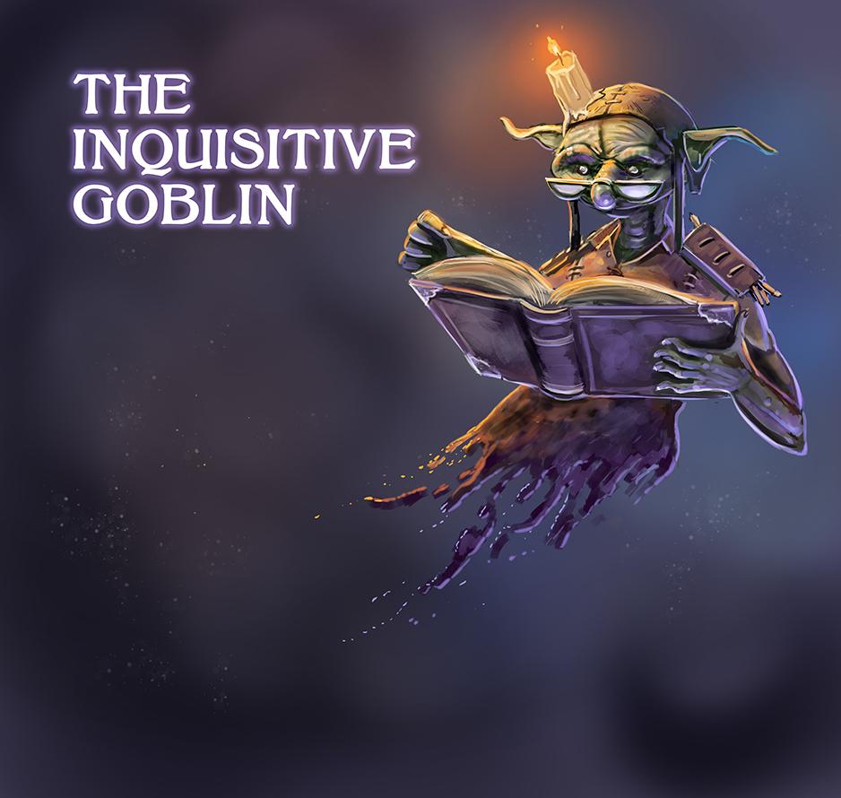 fantasy logo for the inquisitive goblin second hand book store