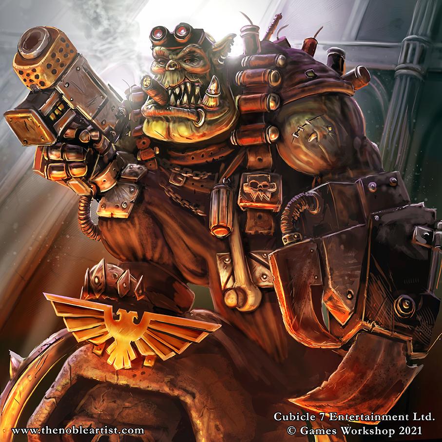 Warhammer 40k Ork Kommando Kaptin Slystabba, by Official Warhammer Artist, Jamie Noble Frier AKA The Noble Artist