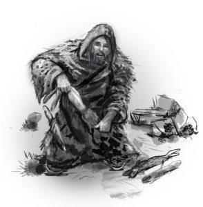 fantasy illustration rabbit skinner, trapper adventurer
