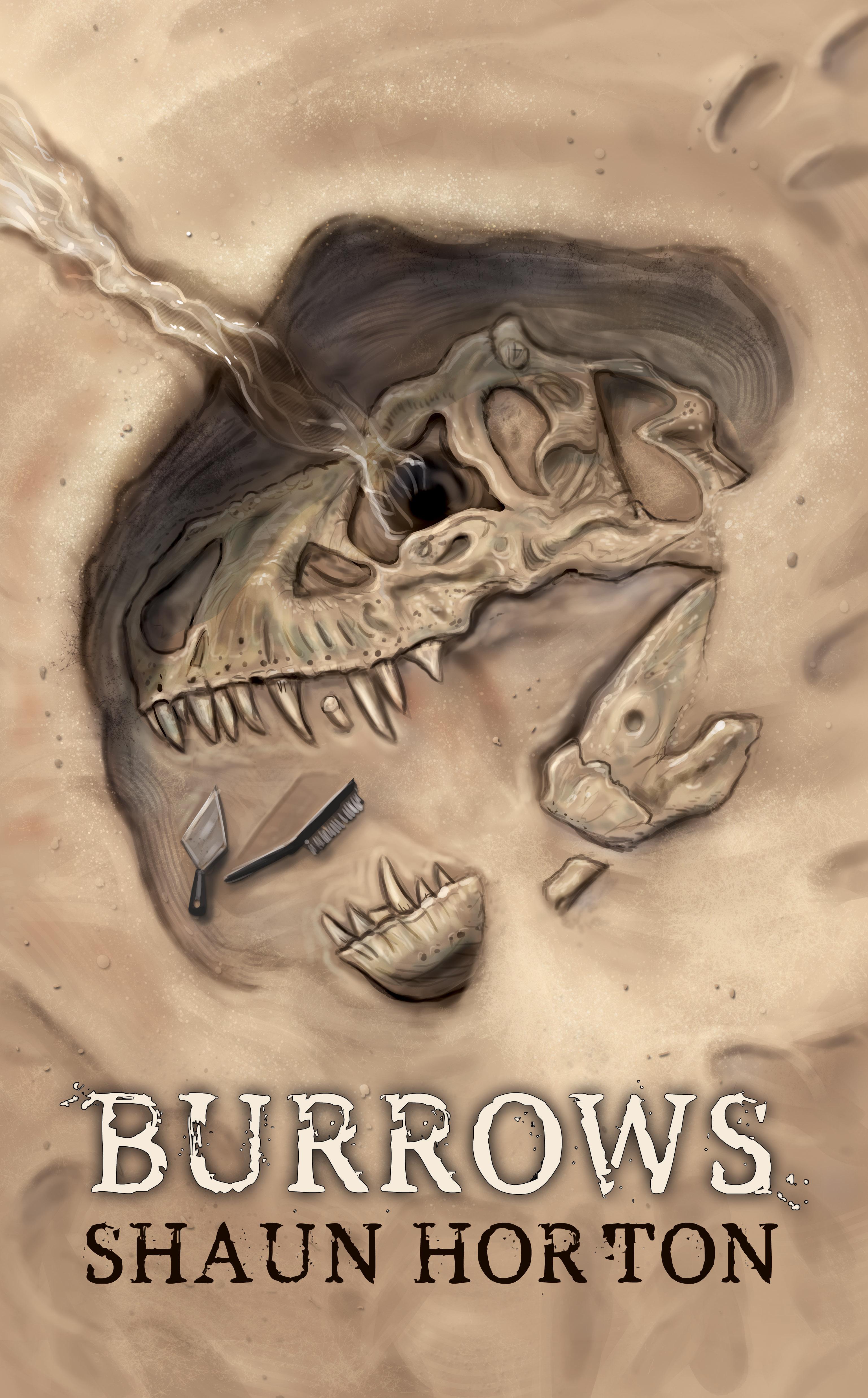 horror book cover, t rex, tyrannosaurus rex skull, Burrows by Shaun Horton